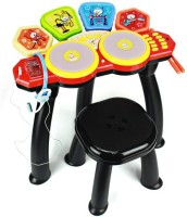 Buddy Fun Bright Star 6 Head Jazz Drum Beat Set With Mp3 Plug-In + Microphone + Stool (Multicolor)