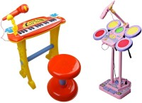 Buddy Fun 2 Piece Combo Electronic Piano + Junior Jazz Drum - Educational Musical Toys (Red, Pink)