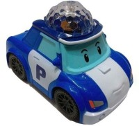 A M Enterprises Blue And White Plastic Musical Police Car (Blue, White)