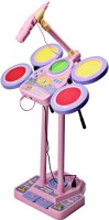 Building Mart Electronic Junior Jazz Drum With Microphone + Pedal Mechanism + Adjustable Heights - Educational Musical Toy (Pink)