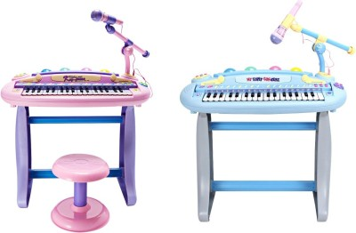 Buddy Fun 2 Piece Combo 37 Key Electronic Piano Set For Him & Her – Educational Musical Toy With Microphone Plus Mp3 Plug-In Option And Stool (Multicolor)
