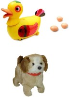 A R ENTERPRISES Egg Laying Duck And Jumping Dog- Musical Toys (Multicolor)