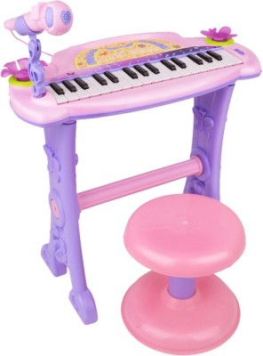 Buddy Fun Electronic Symphonic Piano Key Board Organ – Educational Musical Toy With Mp3 Plug-In Option + Sing-Along Microphone (Pink)
