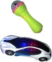 Turban Toys 3d Light Car With Mike Musical Toy (Multicolor)