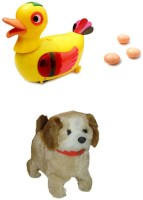 A R Enterprises Egg Laying Duck Bump And Jumping Dog Baby Toys (Multicolor)