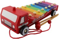 Tootpado Pull Along Ambulance Xylophone - Colourful Musical Wooden Toy For Kids (Age: 3+) (Red)