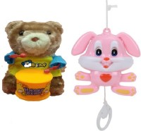 New Pinch Musical Animal Pull String Toy With Windup Teddy Bear Drummer (Multicolor)
