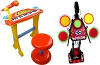 Toys Bhoomi 2 Piece Combo Electronic Piano + Junior Jazz Drum - Educational Musical Toys (Multicolor)