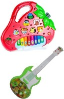 New Pinch Strawberry Shaped Animals Sound Piano With Musical Green Guitar With Light And Sound (Multicolor)