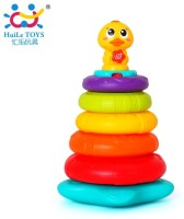 Jaibros Rainbow Duck Musical Stack Toy For Kids (Multicolor)