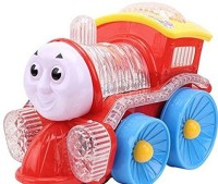 Surya Funny Locomotive Omni Direction Musical Toy Train With Flashing LED Lights (Red, Yellow)