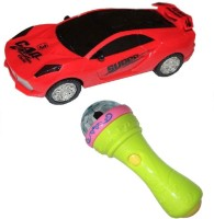 New Pinch 3d Light Car With Handheld Mic Musical Toy (Multicolor)