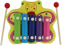 Tootpado Butterfly Animal Wooden Xylophone - Green - 5 Notes - Musical Toys For Kids (Multicolor)