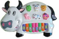 Speoma Educational Musical Cow Piano Keyboard Toy Game For Kids Children (Multicolor) (White)