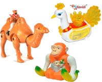 LAVIDI Musical Combos Of Three Lovely Toys Desert Hero Camel, Banana Monkey & Beautiful Peacock (Multicolor)