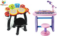 Toys Bhoomi 2 Piece Combo 37 Key Electronic Piano Set + 6 Head Jazz Drum Set (Multicolor)