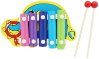Tootpado Cute Elephant Animal Wooden Xylophone - Yellow - 5 Notes - Musical Toys For Kids (Multicolor)