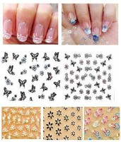 Sangaitap 20 Sheets Of 3d Nail Art Deco Stickers Manicure For Fashionable Girls Women (Multicolor)