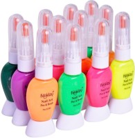 Foolzy Pack Of 12 Towway Nail Art Polish With Pen (Orange::Green::Pink::Yellow::Purple::Blue)