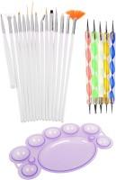 Lifestyle-You Combo Of 15 Pcs Nail Art Brush Set And 5 Pcs Nail Dotting Tools Plus Free Nail Paint Mixing Palette (White)