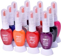 Foolzy Pack Of 12 Twoway Nail Art Paint Polish With Pen (Orange::Red::Pink::Blue::Black::Green::Silver::Purple)