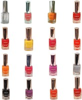 Lorenza Combo Set-1 Nail Lacquer (Pack Of 16) 15 Ml (Base & Coat-010, Hellow Yellow-250, Sunflower-262, Kiss Me309, Girlie-315, Fuchsia-Its Hot-324, Bombshell-340, OMG-404, Funky-438, Las Veaas-472, Rrred-515, Party Time-550, Lavender-625, Attitude-630, B