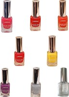Lorenza Combo Set-1 Nail Lacquer (Pack Of 8) 15 Ml (Base & Top Coat-010, Hellow Yellow-250, Kiss Me-309, Bombshell-340, OMG-404, Rrred-515, Lavender-625, Grey Shades-911)