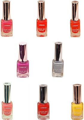 Lorenza Combo Set-15 Nail Lacquer (Pack Of 8) 15 Ml (Hello Yellow-250, Pretty-320, Pink Redefined-327, For A Change-421, Las Veaas-472, Cherry-566, Attitude-630, Grey Shades-911)