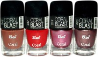Elco Coral Nail Polish - (Pack Of 4) 24 Ml (Caramel Brown, Blood Red, Gloss Pink, Mettalic Copper)
