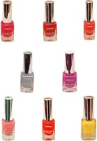Lorenza Combo Set-5 Nail Lacquer (Pack Of 8) 15 Ml (Hello Yellow-250, Pretty-320, Fuchsia Its Hot-324, This Is It-455, Las Veaas-472, Party Time-550, Attitude-630, Grey Shades-911)