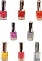 Lorenza Combo Set-7 Nail Lacquer (Pack Of 8) 15 Ml (Base & Top Coat-010, Hellow-250, Pink Redefined-327, Bombshell-340, For A Change-421, Rrred-515, Excuse Me-672, Grey Shades-911)