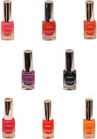 Lorenza Combo Set-6 Nail Lacquer (Pack Of 8) 15 Ml (Sunflower-262, Fuchsia Its Hot-324, Pink Redefined-327, OMG-404, Las Veaas-472, Cherry-566, Lavender-625, Black Diamond-900)