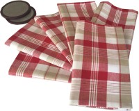Milano Home White, Red Set Of 6 Napkins