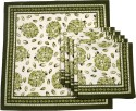 Ocean Collection Pomigrante Print 2 Set Of 6 Cloth Napkins - White, Green