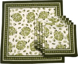 Ocean Collection Pomigrante Print Set Of 6 Cloth Napkins - White, Green
