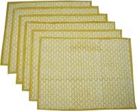 Raaga Textiles White, Yellow Set Of 6 Napkins
