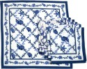 Ocean Collection Pomigrante Blue Set Of 6 Cloth Napkins - Blue, White