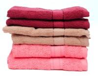 The Home Story Maroon, Brown, Pink Set Of 6 Napkins