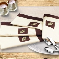 Milano Home Beige, Brown Set Of 4 Napkins