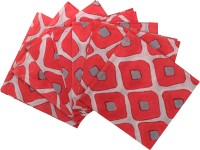 Raaga Textile Red, Grey Set Of 7 Napkins