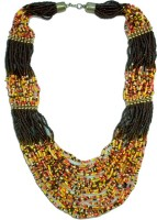The Fine World Radiant Multi Colour Chunky Neck Peice With Touch Of Brown Colors Metal Necklace