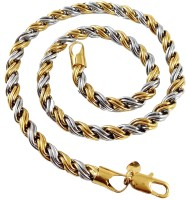 Ammvi Creations 18'' Two-Tone Rope Pattern For Men Stainless Steel Chain