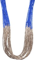 Crunchy Fashion Blue & Golden Beads Multifunction Alloy Necklace