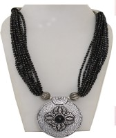 Galz4ever Multi Layered Black Seed Bead Pearl 800 Silver Plated Alloy Necklace