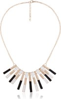 Cinderella Collection By Shining Diva Black Golden & White Striped Textured Alloy Necklace