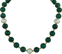 Pearlz Ocean Dyed Green And White Shell Pearl Kundan Agate, Pearl Brass Necklace