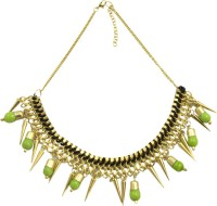 Adrika Statement Necklace In Gold & Green Color - 205 Alloy Necklace