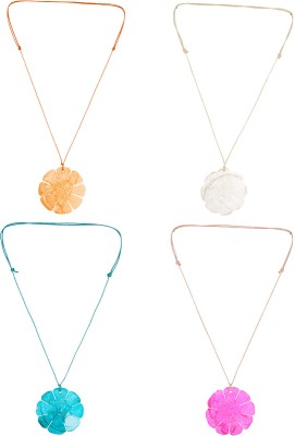 Voylla Voylla Combo Set Of 4 Statement Neckpieces With Floral Motif Plastic Necklace