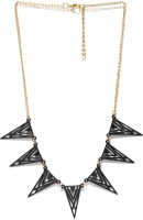 ToniQ ToniQ Gold And Black Spike Metal Necklace