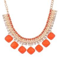 Crunchy Fashion Orange Love Statement Alloy Necklace